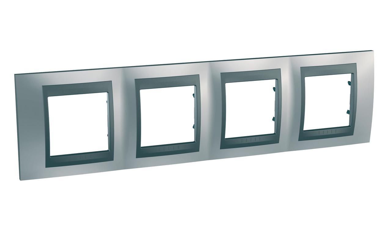 Рамка 4-ая (четверная), Хром матовый/Графит (металл), серия UNICA TOP/CLASS, Schneider Electric