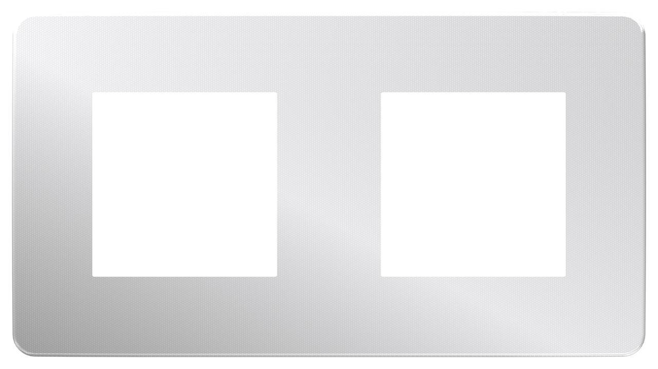 Рамка 2-ая (двойная), Хром/Белый, серия Unica Studio, Schneider Electric
