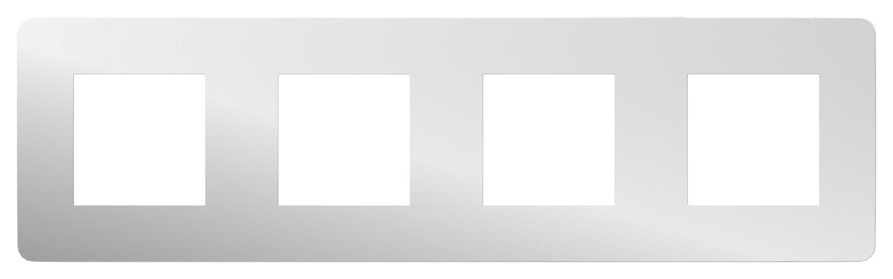 Рамка 4-ая (четверная), Хром/Белый, серия Unica Studio, Schneider Electric
