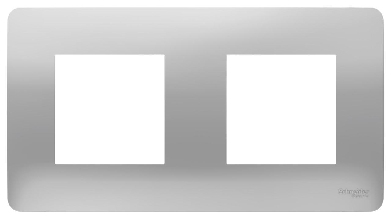 Рамка 2-ая (двойная), Алюминий, серия Unica Studio, Schneider Electric