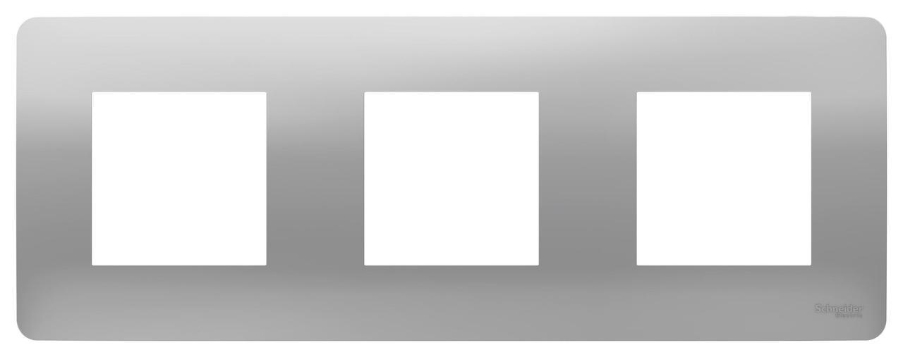Рамка 3-ая (тройная), Алюминий, серия Unica Studio, Schneider Electric