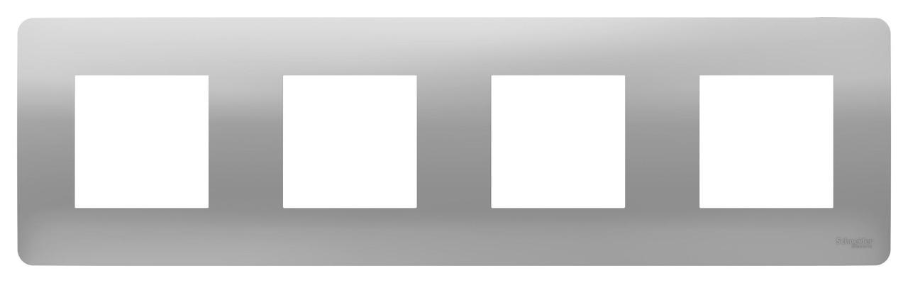 Рамка 4-ая (четверная), Алюминий, серия Unica Studio, Schneider Electric