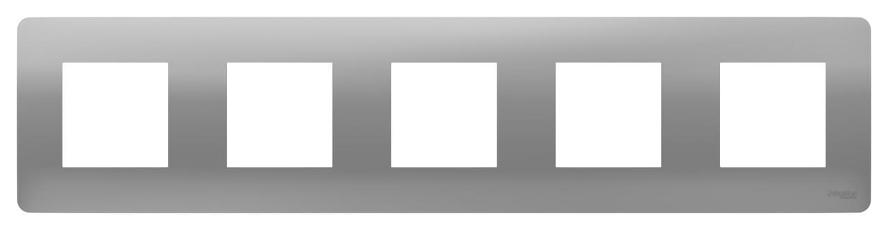 Рамка 5-ая (пятерная), Алюминий, серия Unica Studio, Schneider Electric
