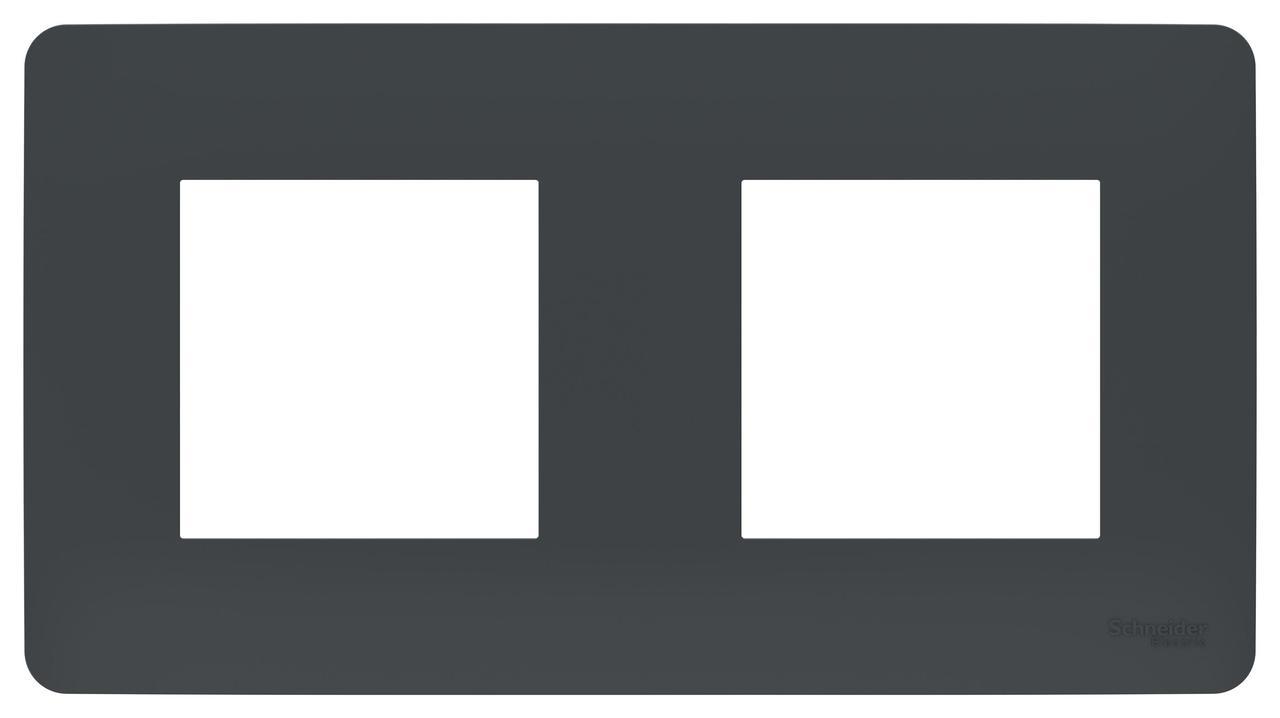 Рамка 2-ая (двойная), Антрацит, серия Unica Studio, Schneider Electric