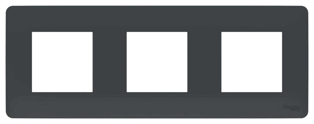 Рамка 3-ая (тройная), Антрацит, серия Unica Studio, Schneider Electric
