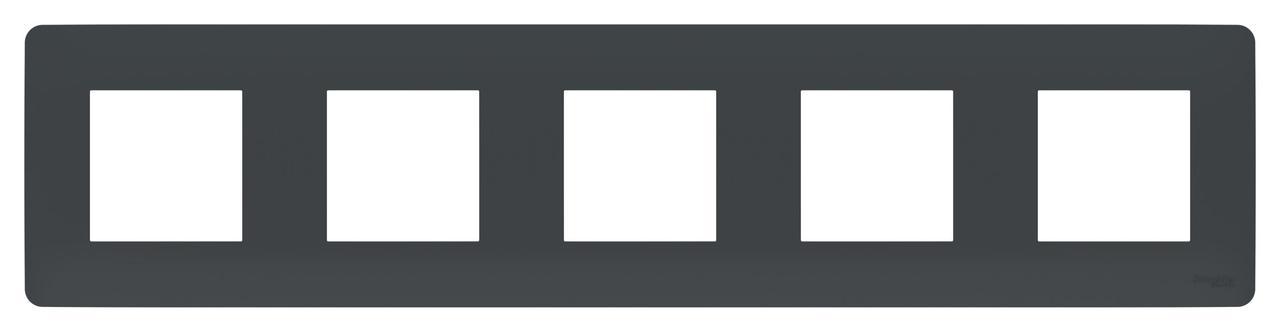 Рамка 5-ая (пятерная), Антрацит, серия Unica Studio, Schneider Electric