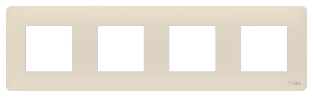 Рамка 4-ая (четверная), Бежевый, серия Unica Studio, Schneider Electric