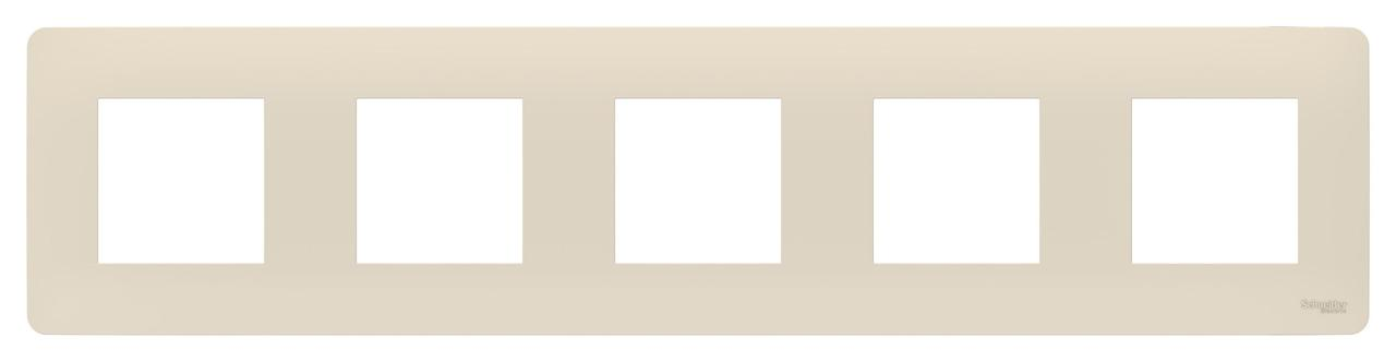 Рамка 5-ая (пятерная), Бежевый, серия Unica Studio, Schneider Electric