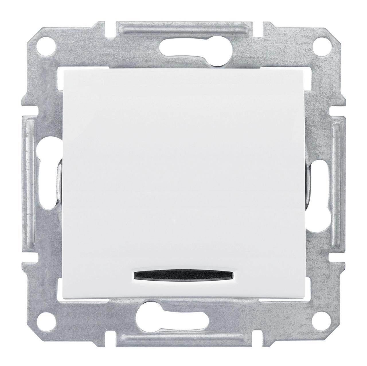 Выключатель 1-клавишный; кнопочный с подсветкой , Белый, серия Sedna, Schneider Electric
