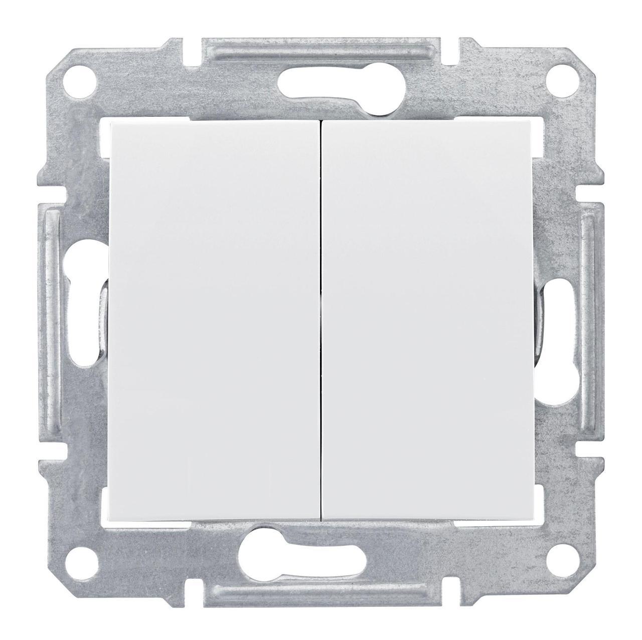 Выключатель 2-клавишный , Белый, серия Sedna, Schneider Electric
