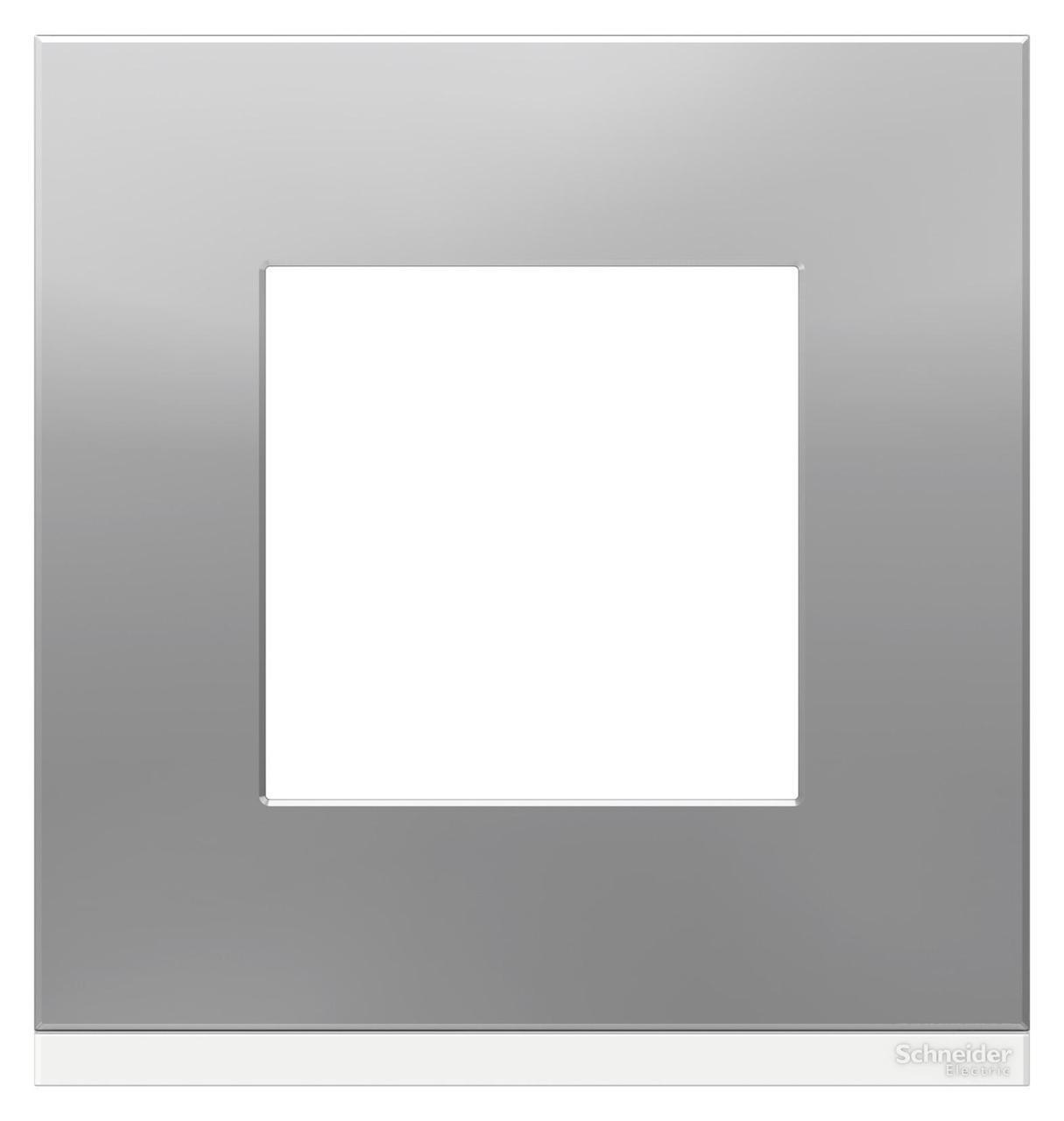 Рамка 1-ая (одинарная), Алюминий матовый/Белый, серия Unica Pure, Schneider Electric