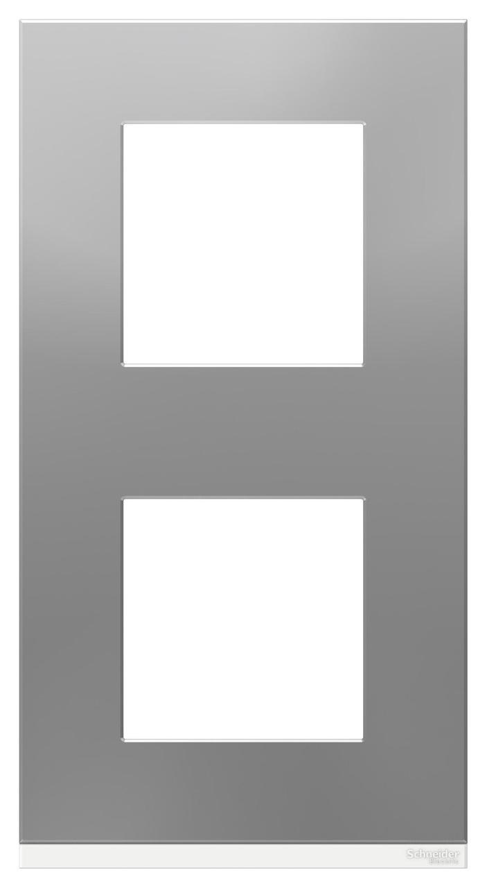 Рамка 2-ая (двойная) вертикальная, Алюминий матовый/Белый, серия Unica Pure, Schneider Electric
