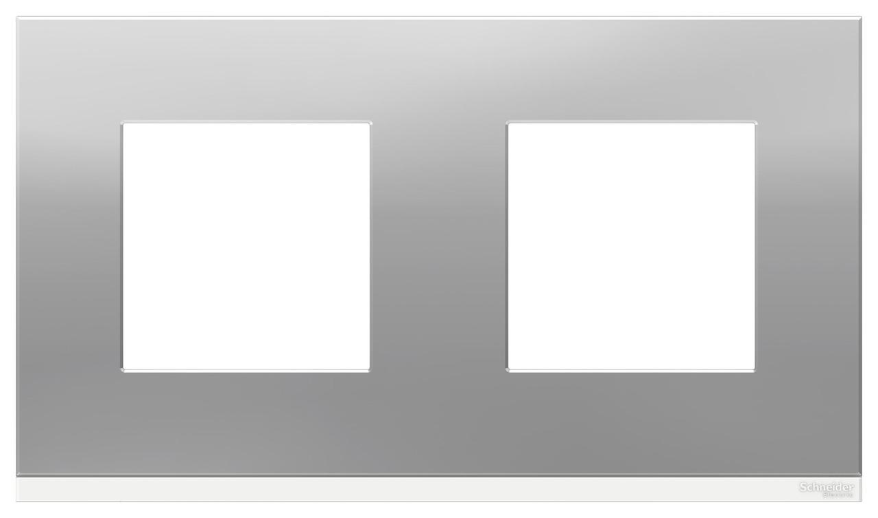 Рамка 2-ая (двойная), Алюминий матовый/Белый, серия Unica Pure, Schneider Electric