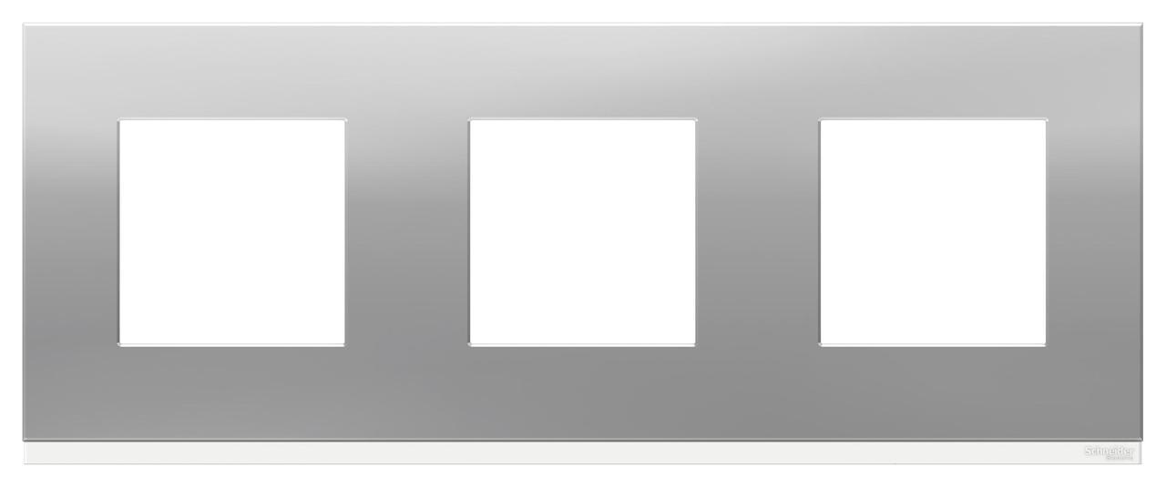 Рамка 3-ая (тройная), Алюминий матовый/Белый, серия Unica Pure, Schneider Electric