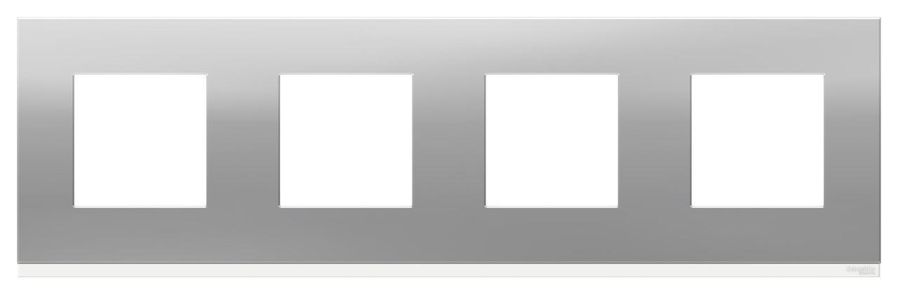 Рамка 4-ая (четверная), Алюминий матовый/Белый, серия Unica Pure, Schneider Electric
