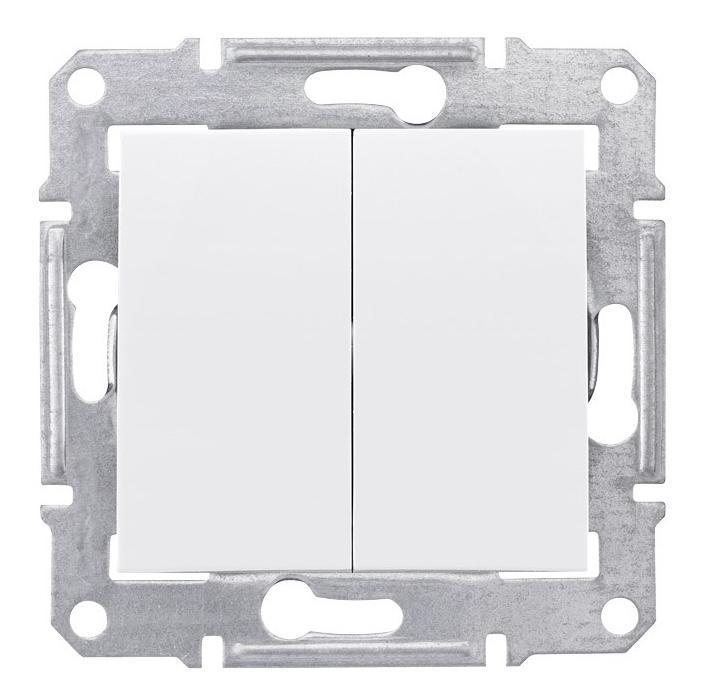 Выключатель 2-клавишный проходной (с двух мест) , Белый, серия Sedna, Schneider Electric