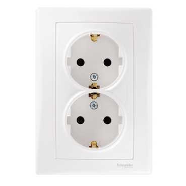 Розетка 2-ая электрическая с заземлением (в сборе) , Белый, серия Sedna, Schneider Electric