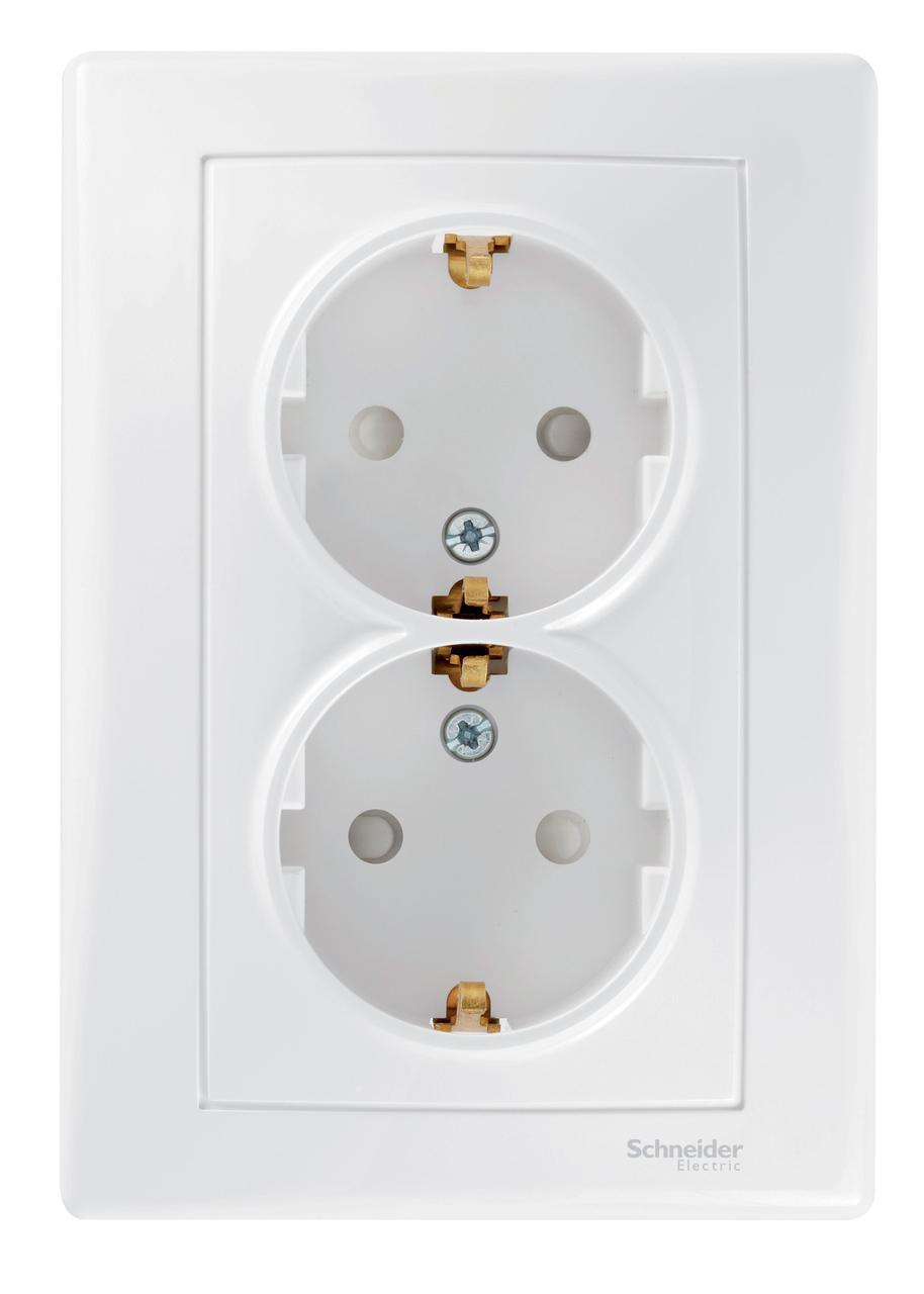 Розетка 2-ая электрическая с заземлением с защитными шторками (в сборе) , Белый, серия Sedna, Schneider