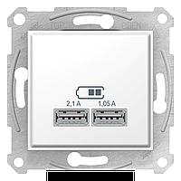 Розетка USB 2-ая 2100 мА (для подзарядки) , Белый, серия Sedna, Schneider Electric