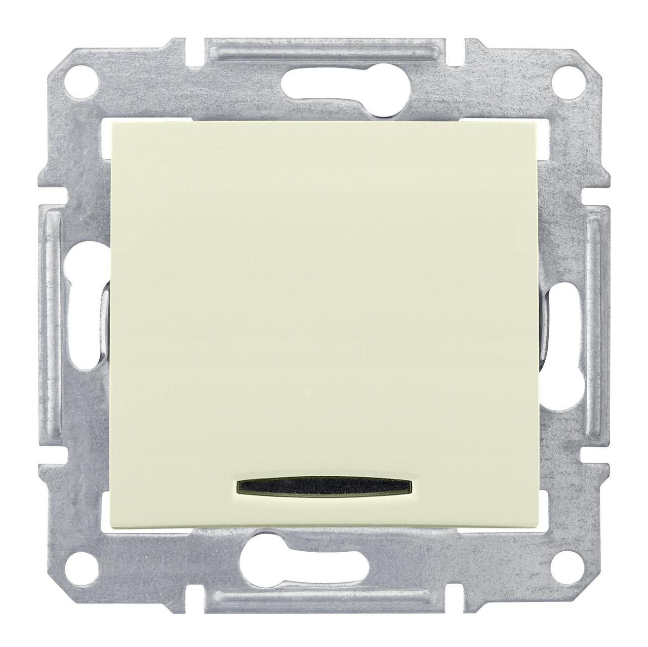 Выключатель 1-клавишный; кнопочный с подсветкой , Бежевый, серия Sedna, Schneider Electric