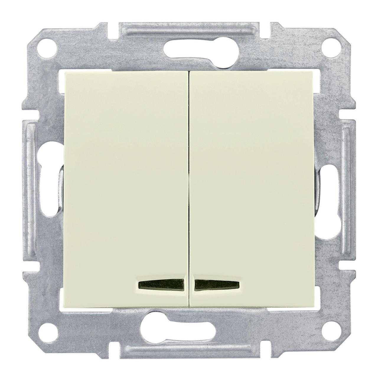 Выключатель 2-клавишный , с подсветкой , Бежевый, серия Sedna, Schneider Electric