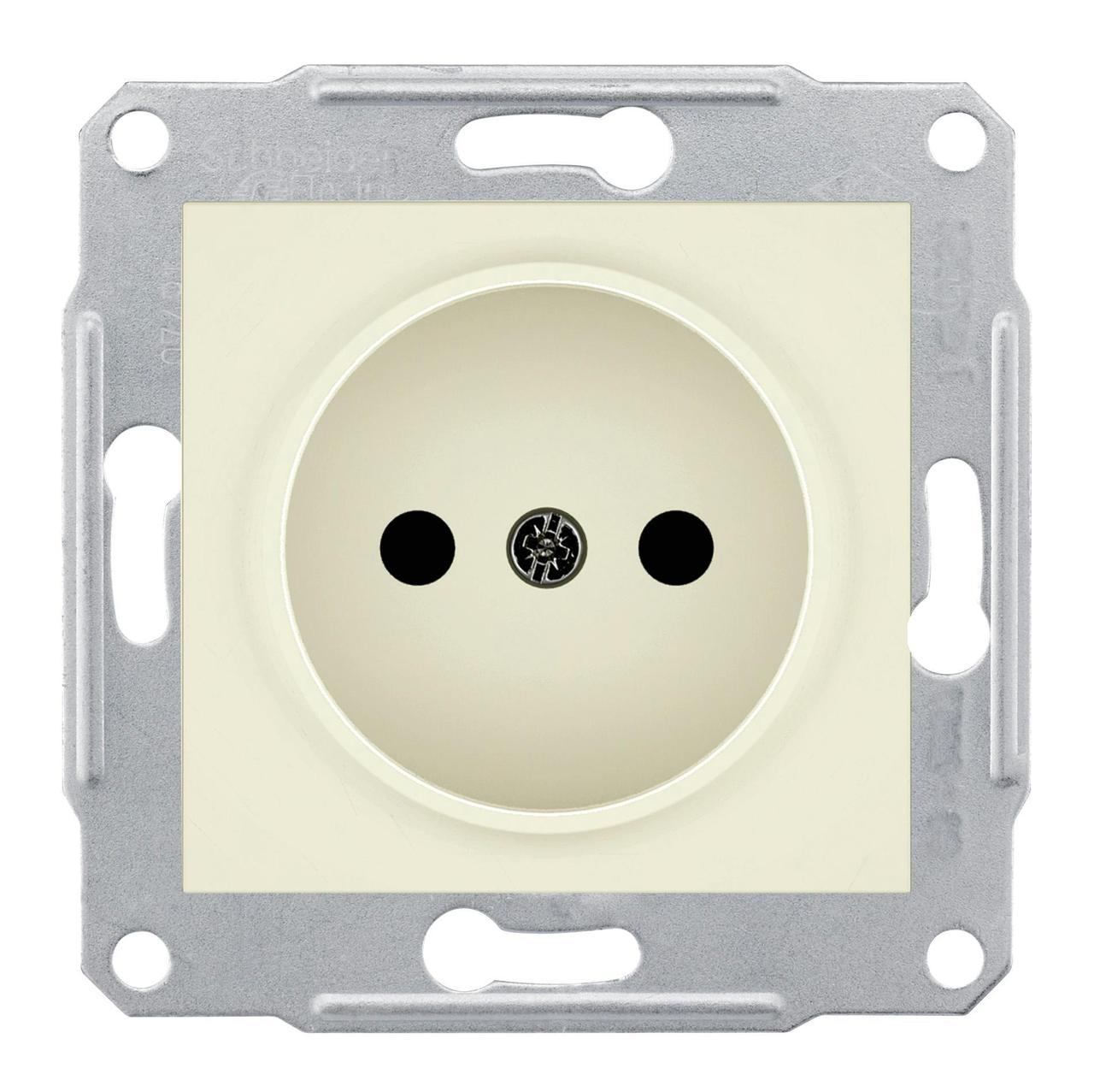 Розетка 1-ая электрическая без заземления , Бежевый, серия Sedna, Schneider Electric