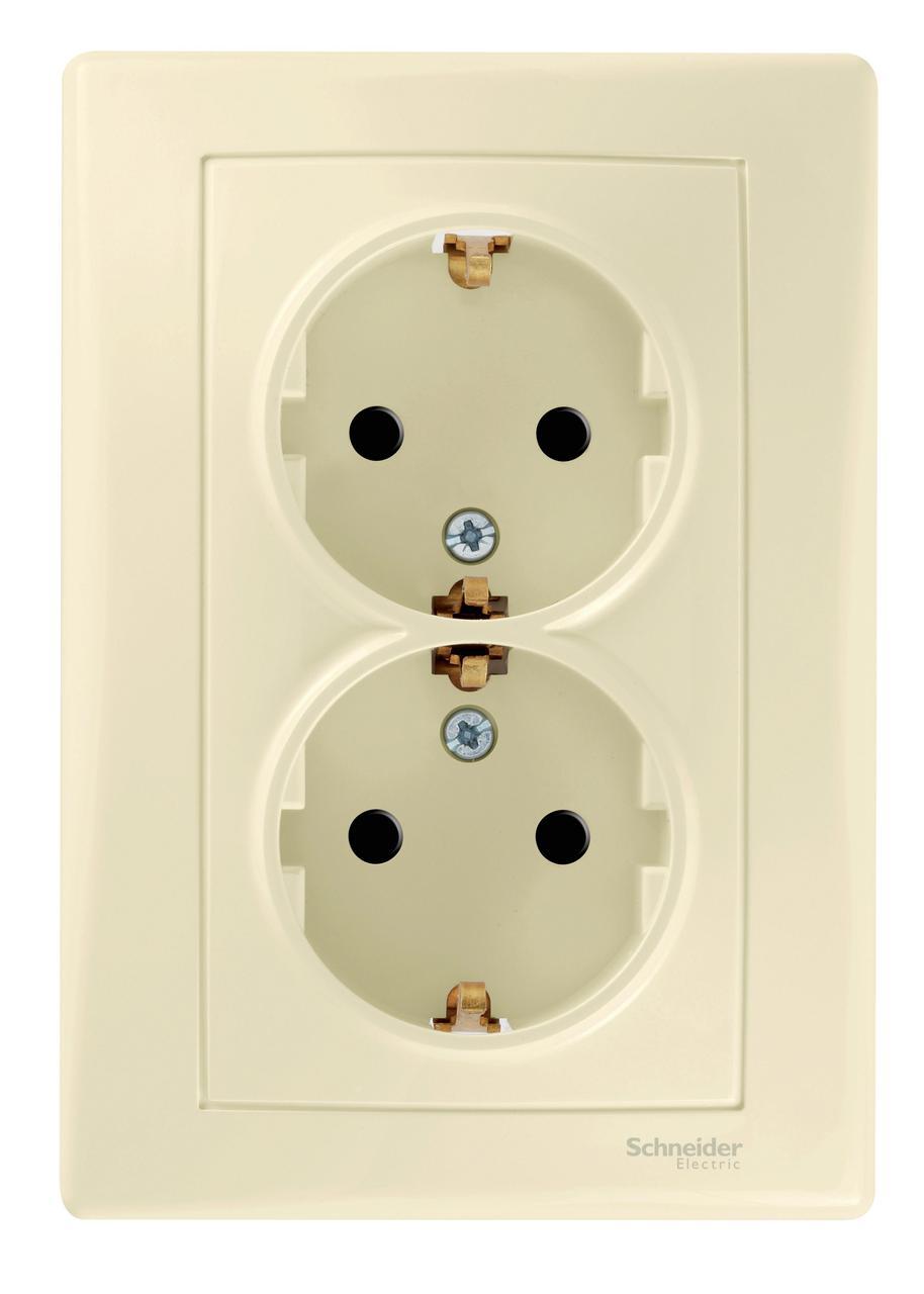 Розетка 2-ая электрическая с заземлением с защитными шторками (в сборе) , Бежевый, серия Sedna, Schneider Electric