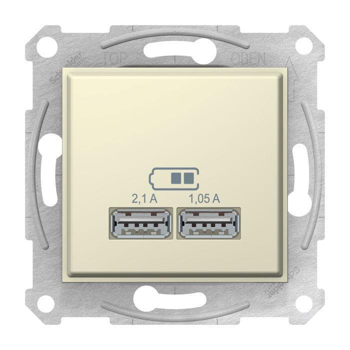 Розетка USB 2-ая (для подзарядки) , Бежевый, серия Sedna, Schneider Electric