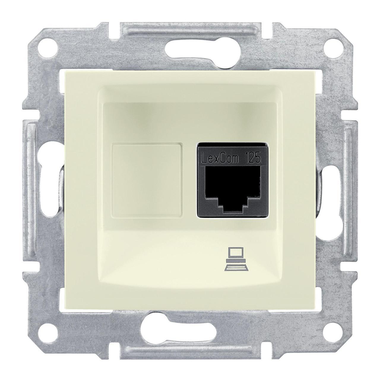 Розетка компьютерная 1-ая кат.5е, RJ-45 (интернет) , Бежевый, серия Sedna, Schneider Electric