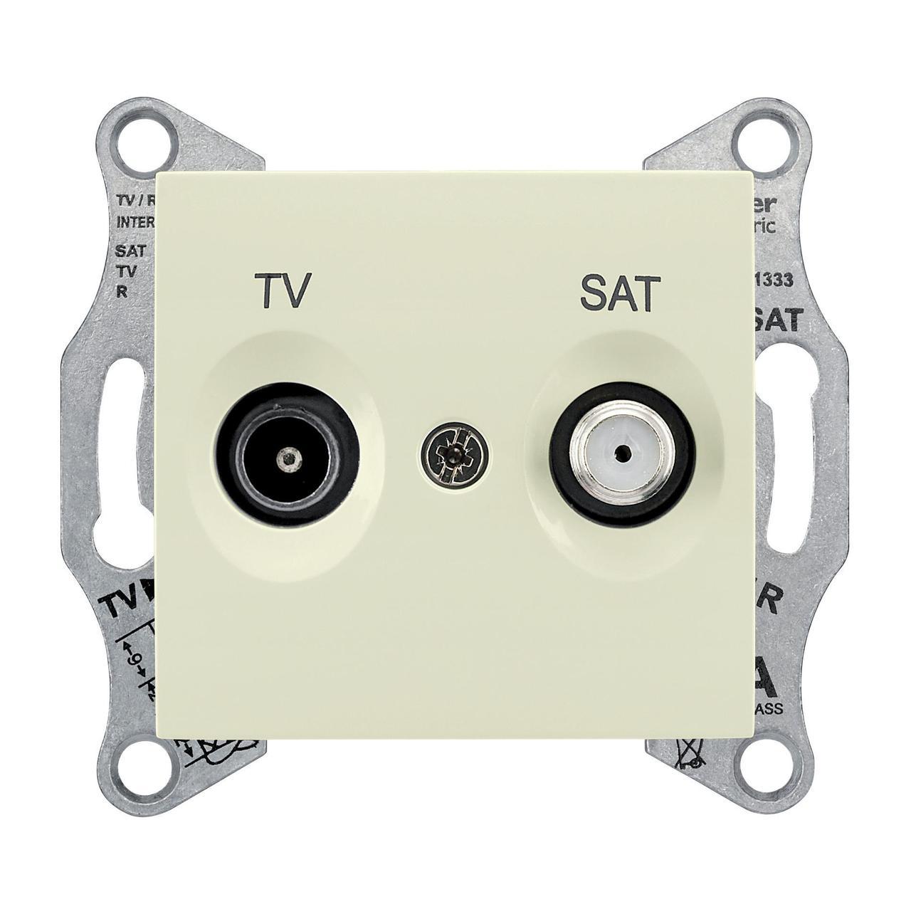 Розетка телевизионная оконечная ТV-SAT , Бежевый, серия Sedna, Schneider Electric