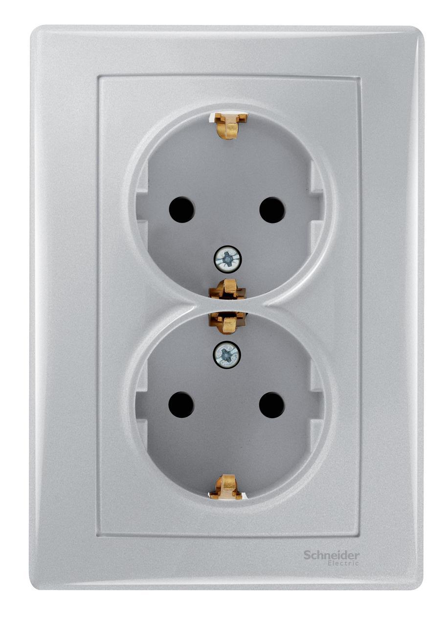 Розетка 2-ая электрическая с заземлением (в сборе) , Алюминий, серия Sedna, Schneider Electric