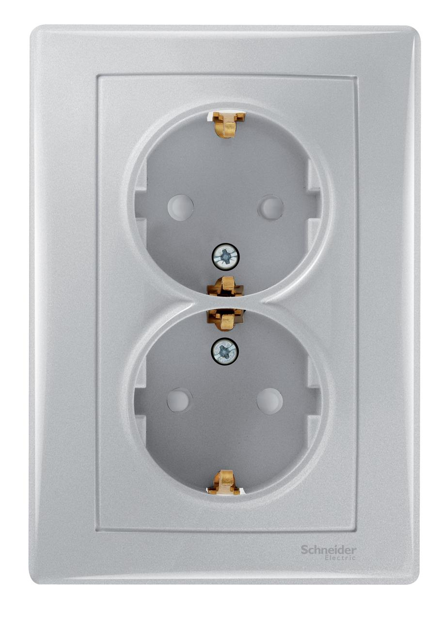 Розетка 2-ая электрическая с заземлением с защитными шторками (в сборе) , Алюминий, серия Sedna, Schneider