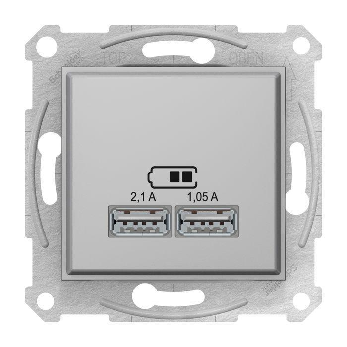 Розетка USB 2-ая (для подзарядки) , Алюминий, серия Sedna, Schneider Electric