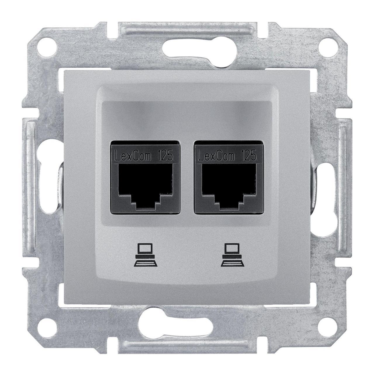 Розетка компьютерная 2-ая кат.5е, RJ-45 (интернет) , Алюминий, серия Sedna, Schneider Electric
