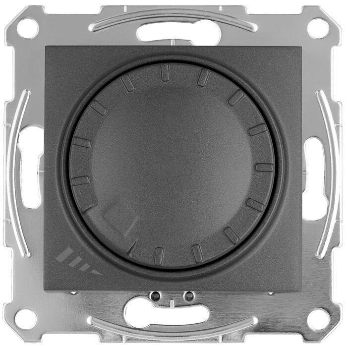 Диммер поворотно-нажимной , 400Вт LED универсальны , Графит, серия Sedna, Schneider Electric