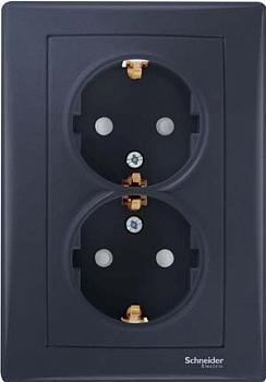 Розетка 2-ая электрическая с заземлением (винтовой зажим) , Графит, серия Sedna, Schneider Electric