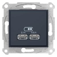 Розетка USB 2-ая (для подзарядки) , Графит, серия Sedna, Schneider Electric