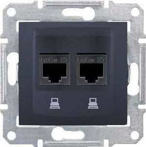 Розетка компьютерная 2-ая кат.5е, RJ-45 (интернет) , Графит, серия Sedna, Schneider Electric