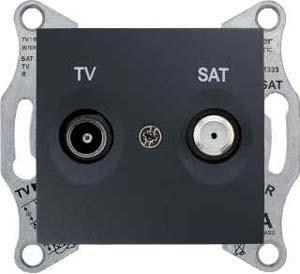 Розетка телевизионная проходная ТV-SAT , Графит, серия Sedna, Schneider Electric