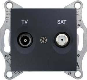 Розетка телевизионная проходная ТV-SAT 8dB , Графит, серия Sedna, Schneider Electric