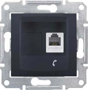 Розетка телефонная 1-ая 4 контакта, RJ-11 , Графит, серия Sedna, Schneider Electric