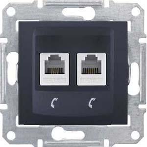 Розетка телефонная 2-ая 4 контакта, RJ-11 , Графит, серия Sedna, Schneider Electric