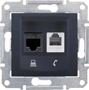 Розетка телефонная+компьютерная RJ-11/RJ-45 кат. 5e , Графит, серия Sedna, Schneider Electric