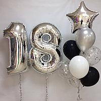 Гелиевые шарики на 18-летие. Фонтан и Цифры