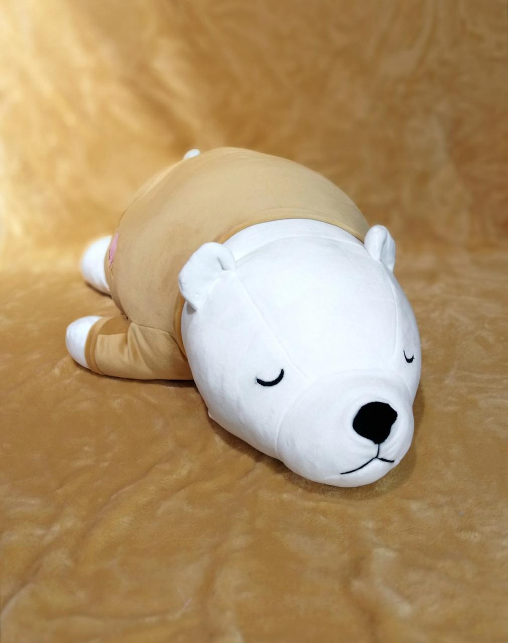 Игрушка-подушка Белый мишка с пледом внутри