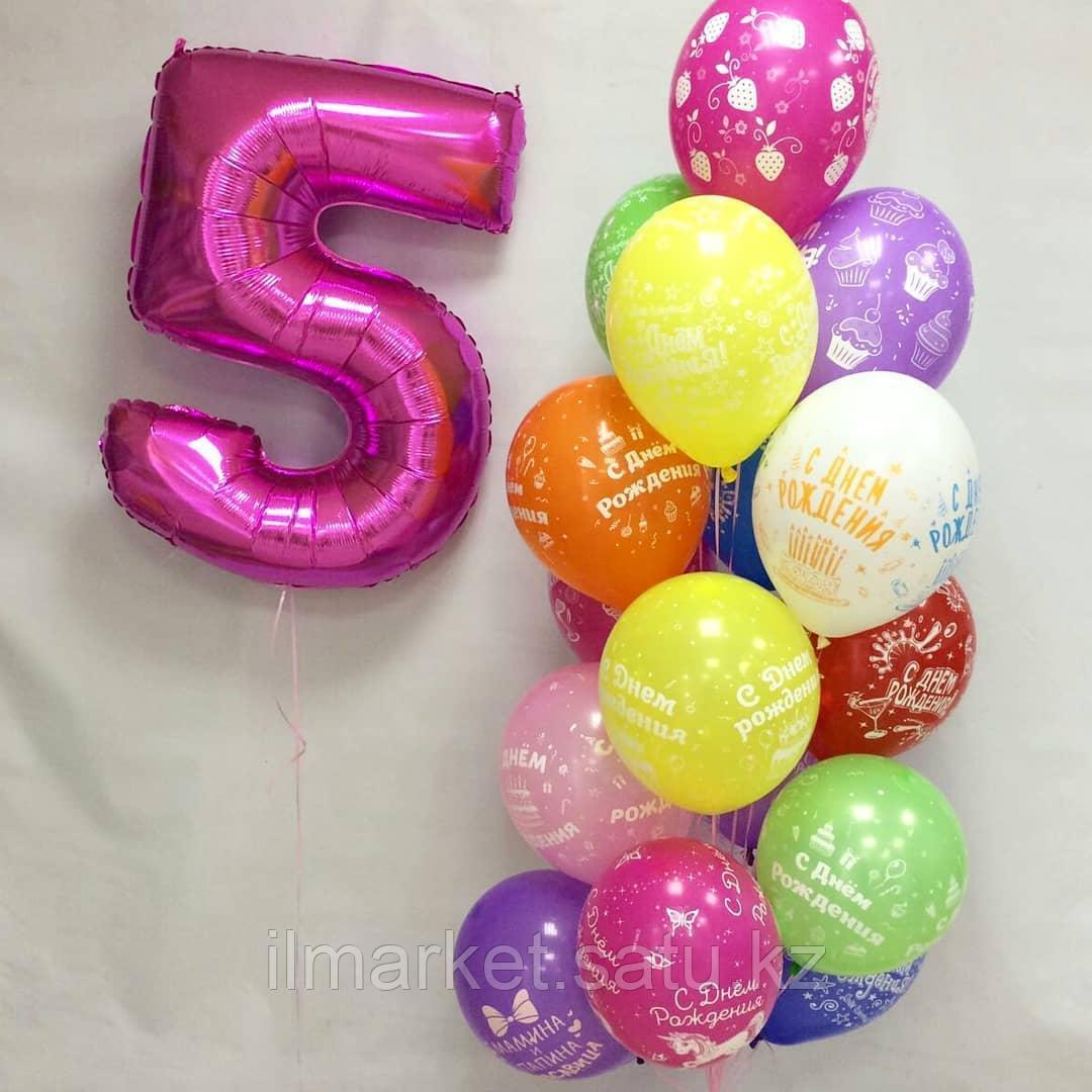 Цифра 5 с Клоуном и ходячие шарики смайлы Клоуны - фото 5