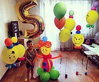 Цифра 5 с Клоуном и ходячие шарики смайлы Клоуны