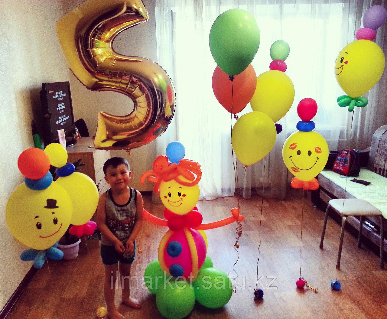 Цифра 5 с Клоуном и ходячие шарики смайлы Клоуны - фото 1