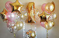 Красивые Гелиевые шарики с Цифрой в Золотом и нежно Розовом цвете