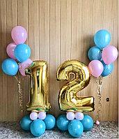 Цифры фольгированные метровые и фонтанчики из шаров